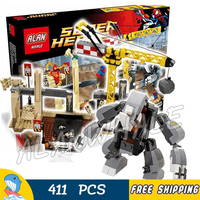 411pcs Super Heroes Spider Man Rhino and Sandman Super Villain Team Up 07021 Model Building Block Toy Brick Compatible with Lego
