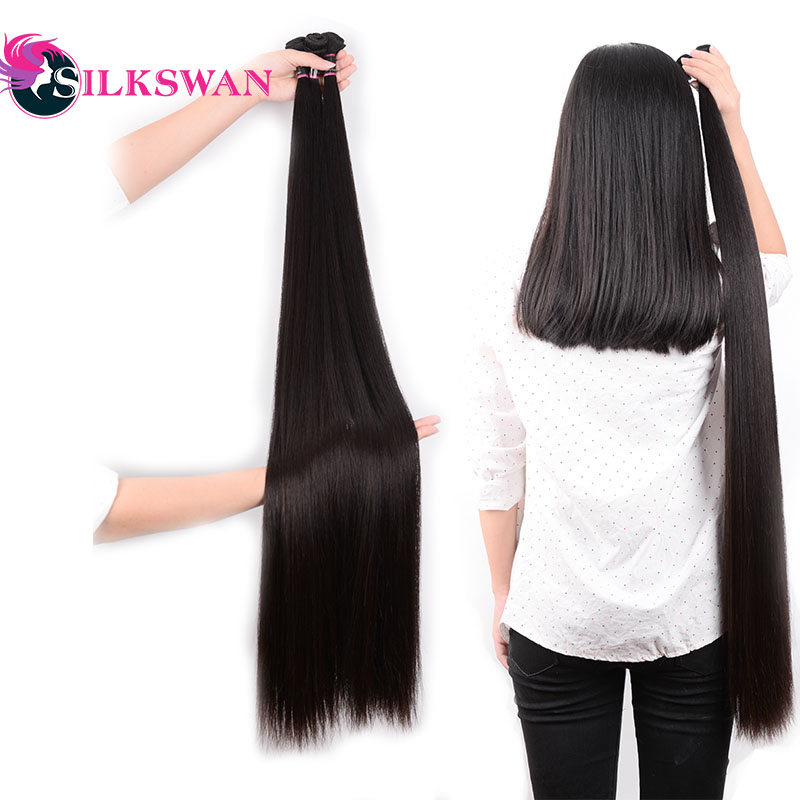 Silkswan Straight 10-30 Inch Human Hair Extensions 100% Remy Hair 28 30 32 34 36 38 40 42 50 Inch  Brazilian Hair Weave Bundles(China)