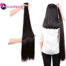 Silkswan Straight 10-30 Inch Human Hair Extensions 100% Remy Hair 28 30 32 34 36 38 40 42 50 Inch Brazilian Hair Weave Bundles(China)