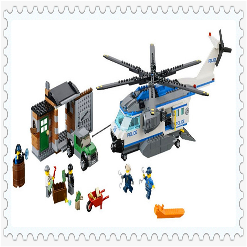 BELA 10423 City Police Helicopter Surveillanc Building Block 528Pcs DIY Educational  Toys For Children Compatible Legoe compatible lepin city block police dog unit 60045 building bricks bela 10419 policeman toys for children 011
