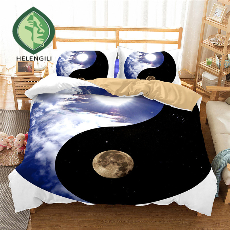 HELENGILI 3D Bedding Set Yin Yang Print Duvet cover set lifelike bedclothes with pillowcase bed set home Textiles #2-02HELENGILI 3D Bedding Set Yin Yang Print Duvet cover set lifelike bedclothes with pillowcase bed set home Textiles #2-02