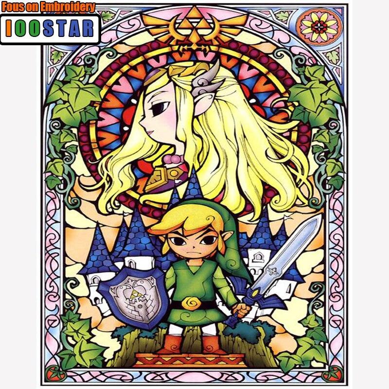 5d Diamant, Mosaïque broderie Légende De Zelda Logo Jeu Film, diamant peinture de bande dessinée, croix-point de Nouveau année cadeau