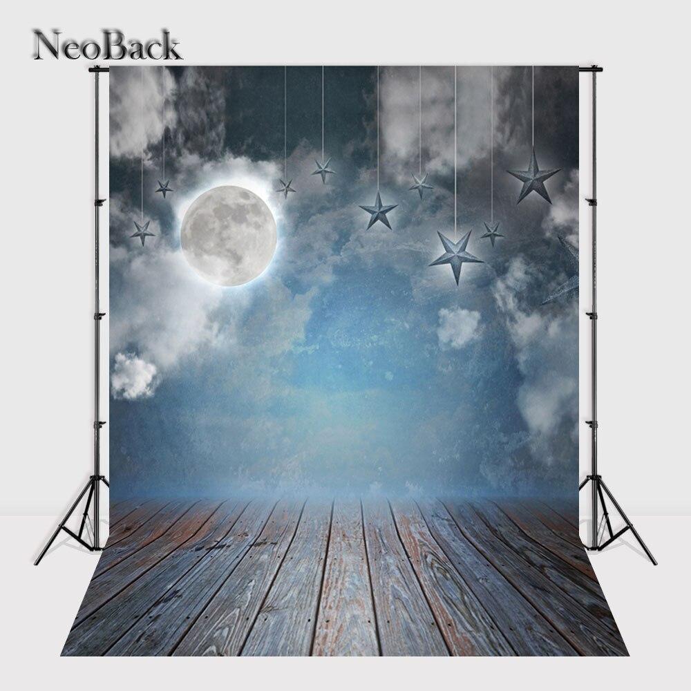 NeoBack blue tone wood floor vinyl backdrop night moon star scene new born baby Printed children backgrounds A0005
