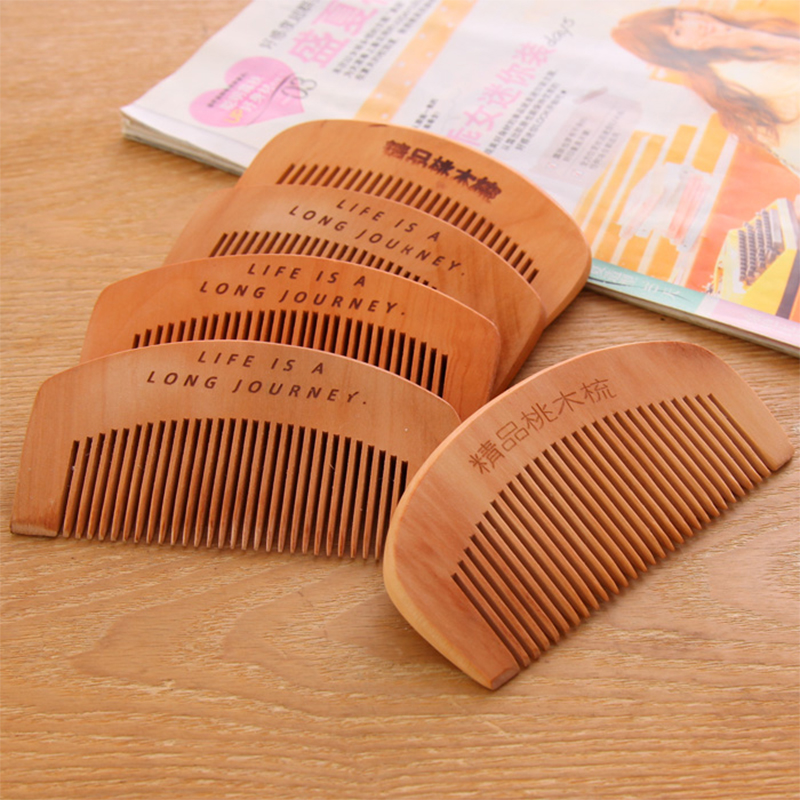 100PCS Natural Peach Portable Comb Anti-static Wooden Comb Massage Hairdressing Without Hurting the Scalp Handmade Small Comb anti static elastic finger cots stalls yellow size l 50 pcs