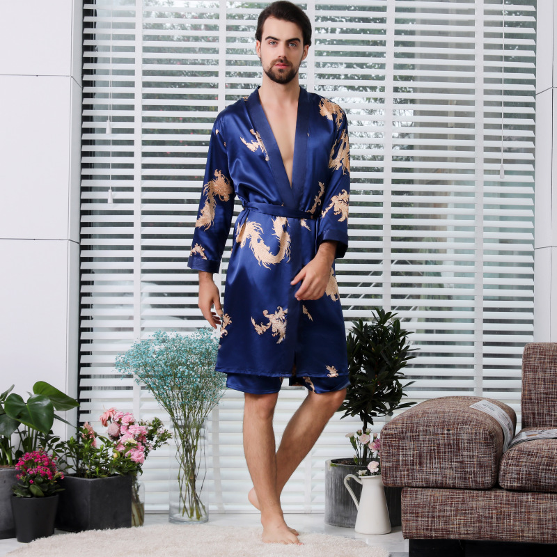 Pajamas For Men Male Robe Set Satin Silk Animal Print Nightgown Female Sleepwear Unisex Plus Size Robe Set Couple Home Suit