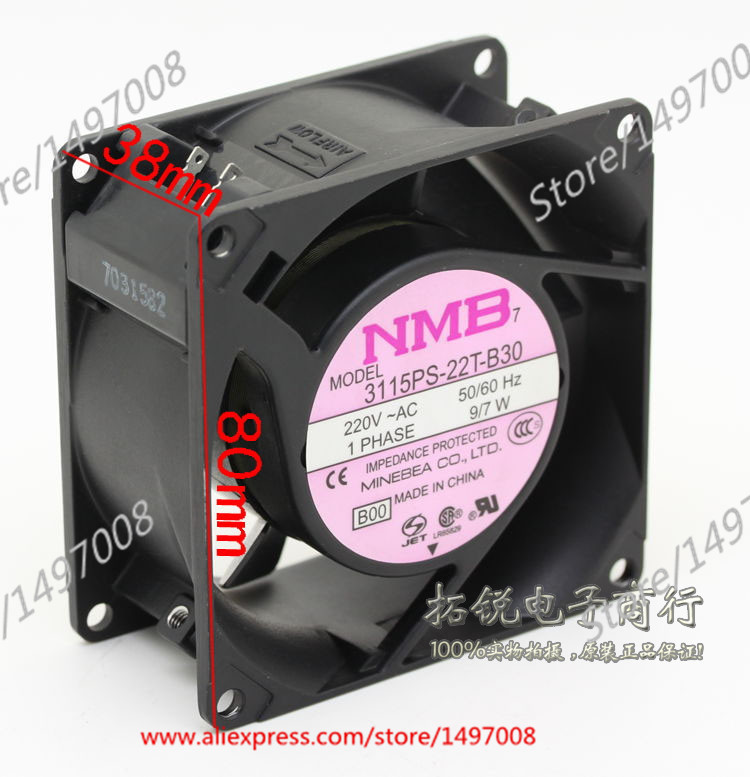 Free Shipping For NMB  3115PS-22T-B30, B00  AC 220V 9W 2-pin 80X80X38mm Server Square fan free shipping for adda aa8382hb aw s ac 220 240v 0 07 0 06a 2 pin 80x80x38mm server square fan free shipping