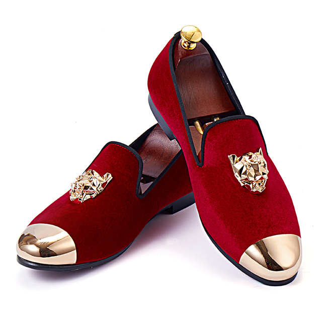fbbc9b44a76 Harpelunde Animal Buckle Men Wedding Shoes Red Velvet Slippers Gold Cap Toe Loafer  Shoes Size 6