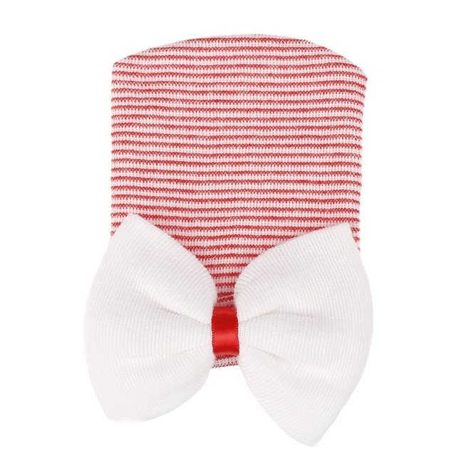 Red white bow hat
