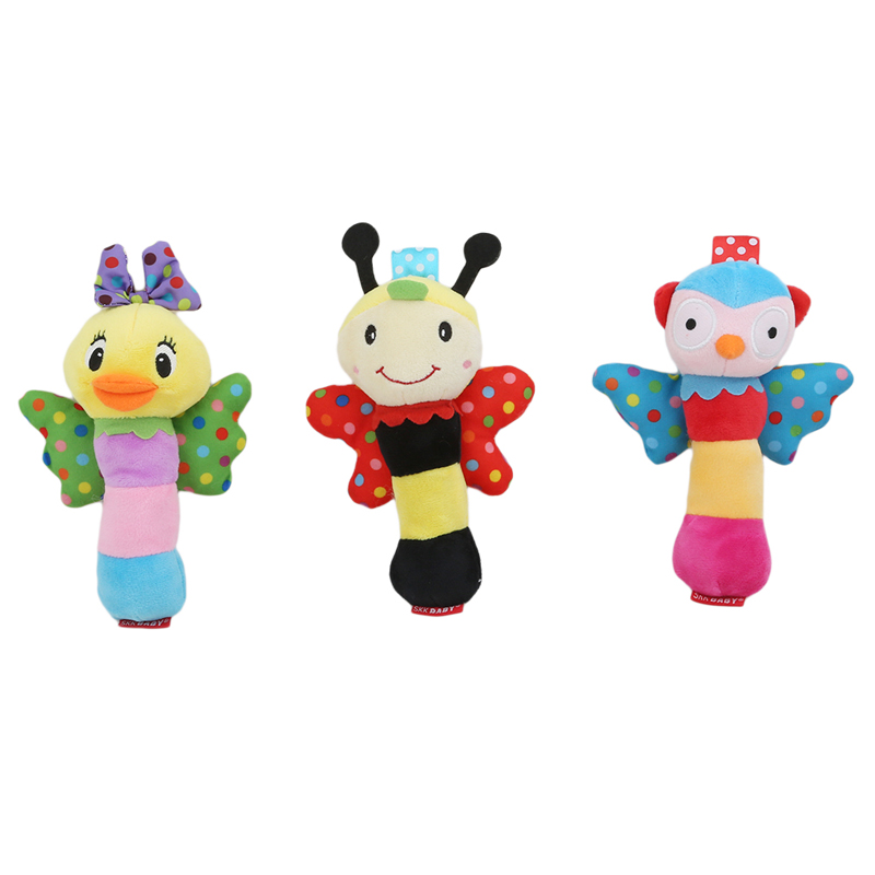 Hot Sale Toy Infant Baby Rattles Soft Cartoon Cute Baby Plush Stuffed Toys 3 Patterns Animal Model Children Educational Handbell