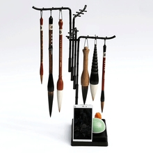 Fashion Design 24 Hangers Multifunctional Pen Holder Calligraphy Brush Holder Traditional Painting Writing Plastic Brush Rack