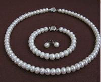100% real pearl necklaces bracelet earring set 18inch White Natural pearl AAA 9 10mm highlight pearl gifts for women Jewelry