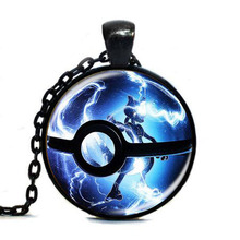 Steampunk Anime cartoon Pokemon Pokeball Necklace game gamer pendant gift children mens women chain antique vintage necklaces