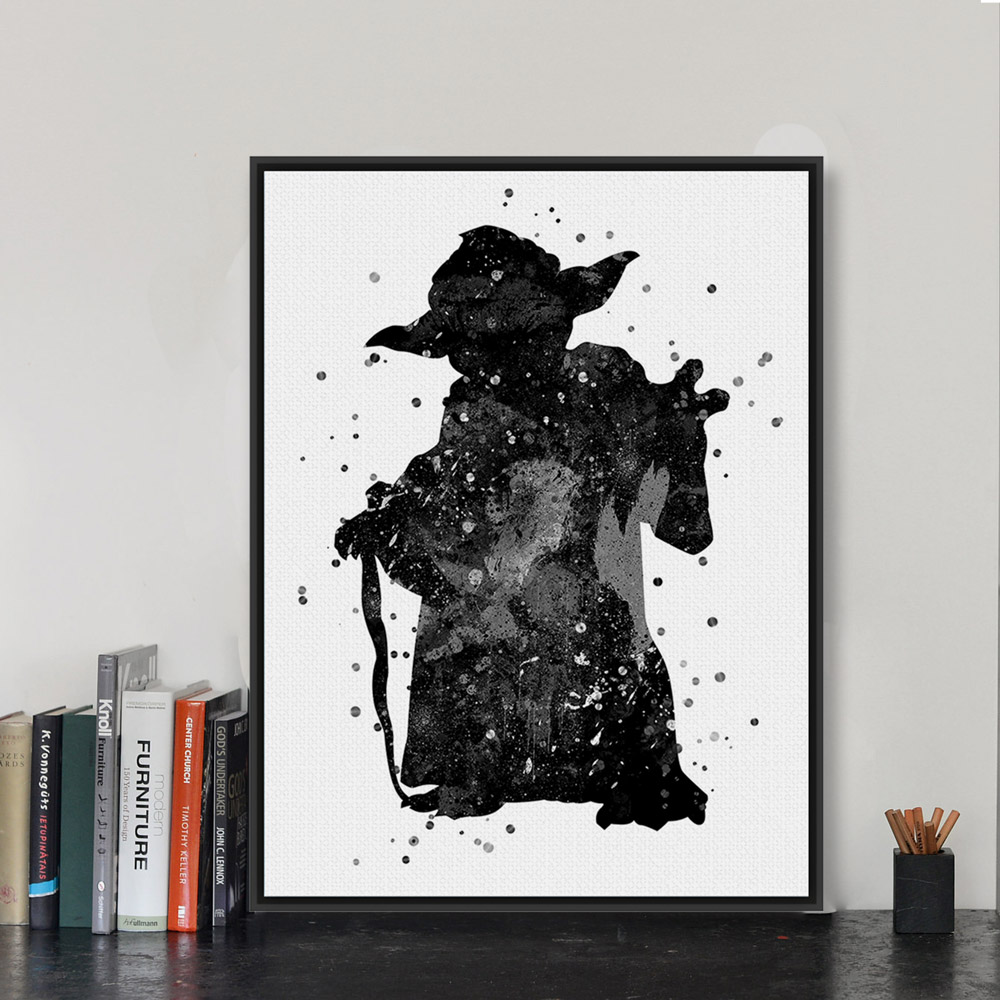 Original Black Whate Star Wars Yoda Pop Movie Poster Prints Abstract ...