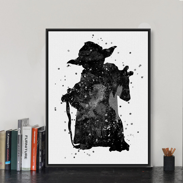 Original Black Whate Star Wars Yoda Pop Movie Poster Prints Abstract Picture A4 Kids Room Wall Art Canvas Painting No Frame Gift
