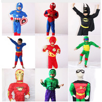 Kids Halloween Costume Captain American Spiderman Batman Superman Robin The Hulk The Flash Muscle Avengers Cosplay