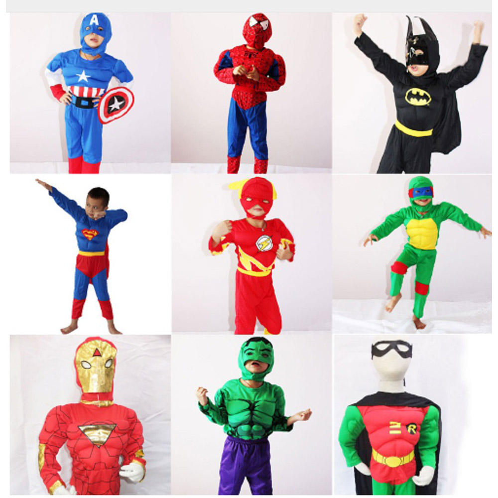 Kids Muscle Costume Captain American Spiderman Batman Superman Robin The Hulk The Flash Muscle Avengers Cosplay Costume