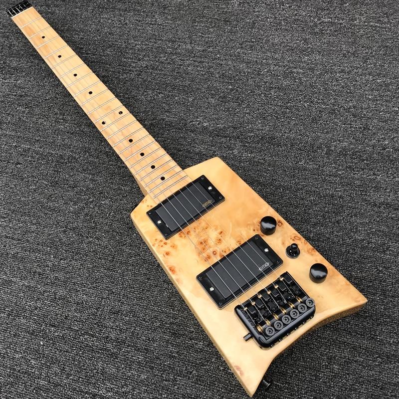 new style burl wood top headless mini electric guitar travel guitar w maple neck gloss finish. Black Bedroom Furniture Sets. Home Design Ideas