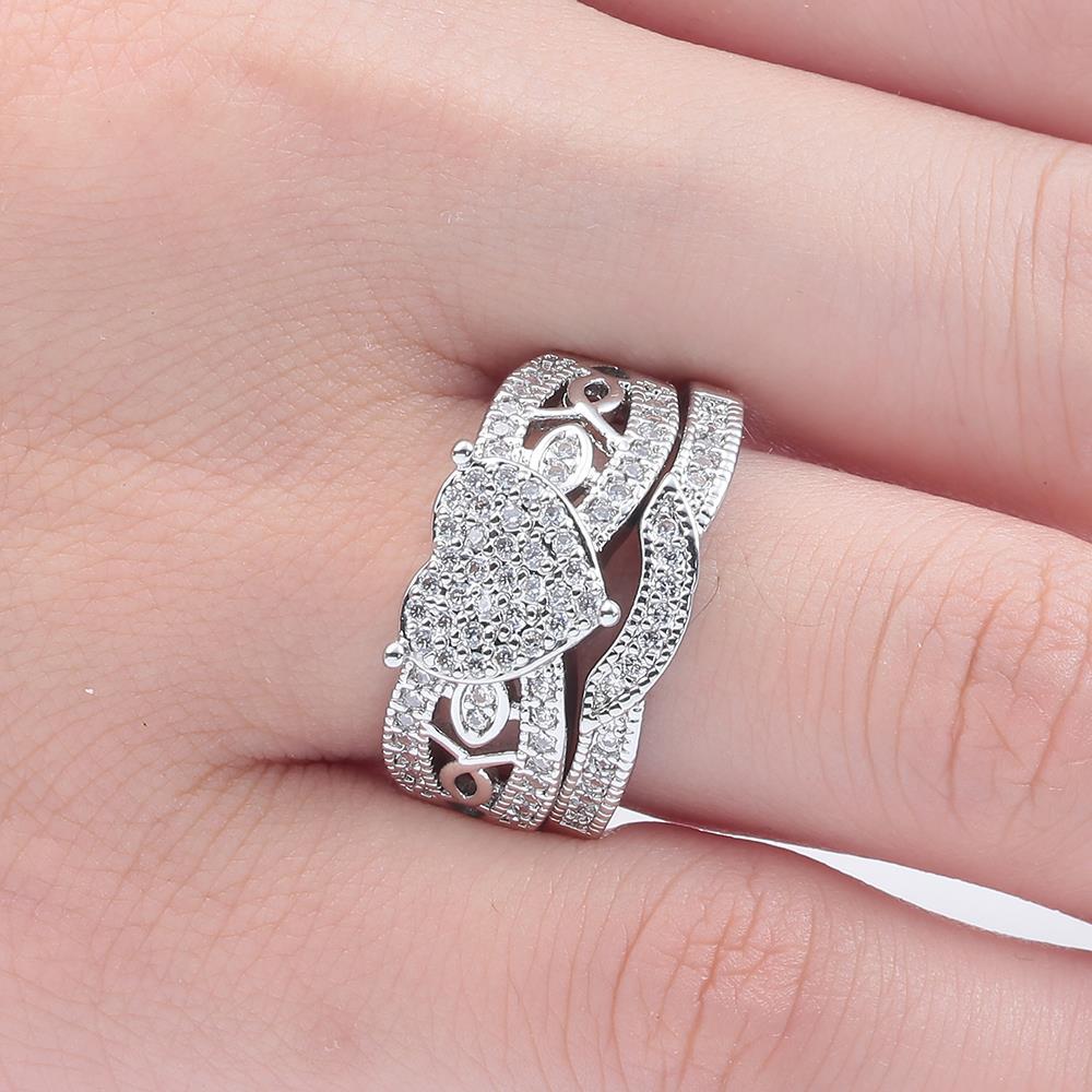 Hainon NEW Heart Women\'s Rings White Gold Filled CZ zircon Jewelry ...