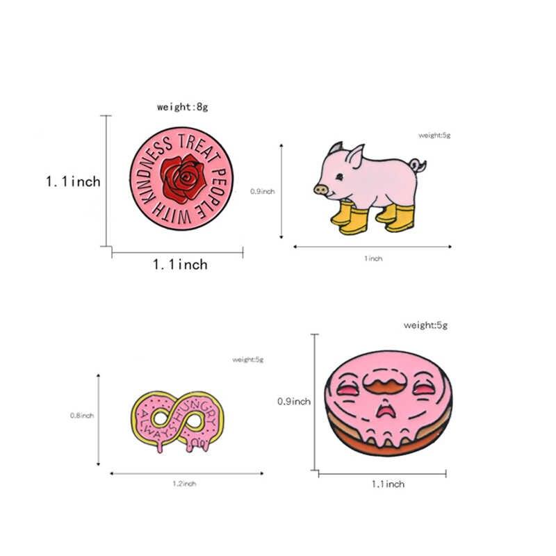 ピンクコレクション! 常に空腹ハリースタイルピンラウンドローズレインブーツ豚ソフトエナメルラペルピンバッジブローチ
