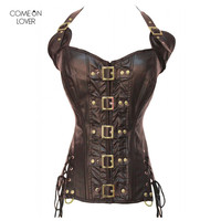 Comeonlover Buckle Steampunk Corset Faux Leather Burvogue Body Shaper Halter Punk Gothic Corselet Costume Sexy Bustier AT2225