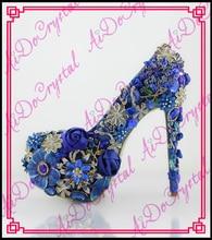 Aidocrystal royal blur wedding shoes crystal fashion women pumps rhinestone diamond16CM Ultra high heels
