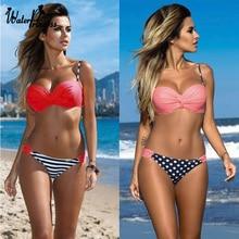 Water Princess Bikini Swimsuit Striped Dot Bandage Chest Women Push Up Swimwear Sexy Bathing Beachwear Biquini Female