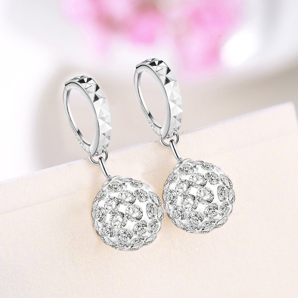 687581abe Martick Shining Crystal Hoop Earrings 100% 925 Sterling Silver Jewelry  Round Boll Earrings Brincos For Girl Fashion Bijoux GSE15-in Hoop Earrings  from ...