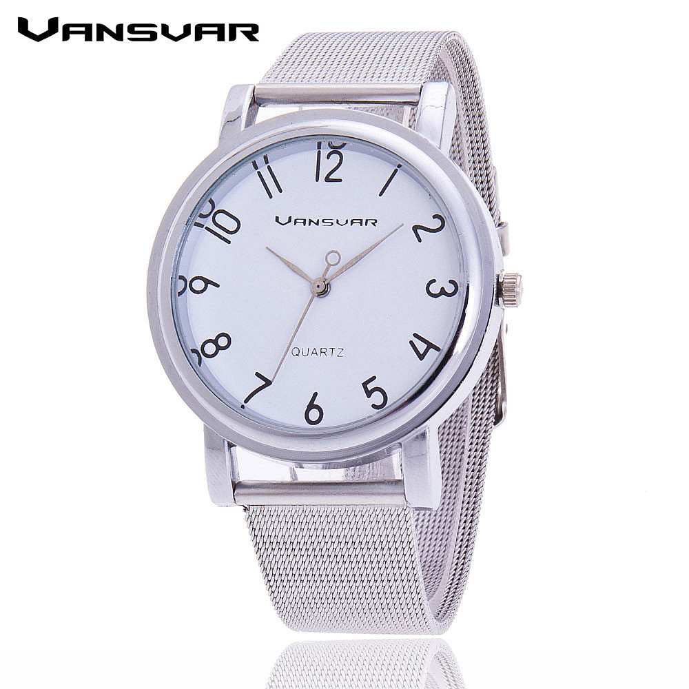 Vansvar Fashion Women Wrist Watch Silver Band Watch Casual Ladies Quarzt Watch Relogio Feminino vansvar brand vintage leather human anatomy heart wrist watch casual fashion ladies women quartz watch relogio feminino v46