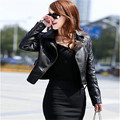 New Women Outerwear 2015 Inclined Zipper Short Length Full Sleeve Fashion Slim Turn-down Collar Pocket Casual Leather Coat YJ694
