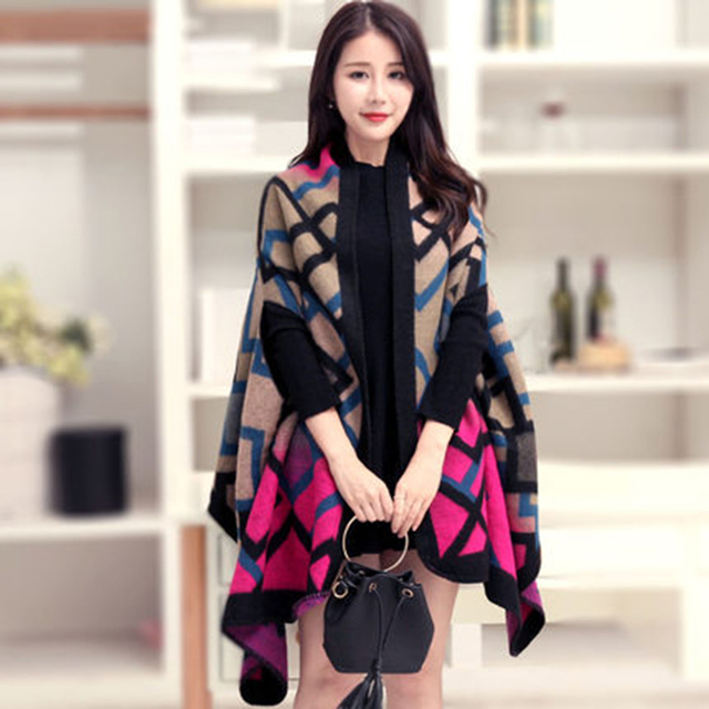 New Arrival Women's Winter Poncho Blanket Women's Lady Knit Shawl Cape Cashmere Scarf Poncho
