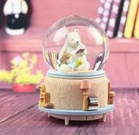 Creative cartoon music box star small elephant crystal ball elephant octave box with light floating snow ball culpture statue