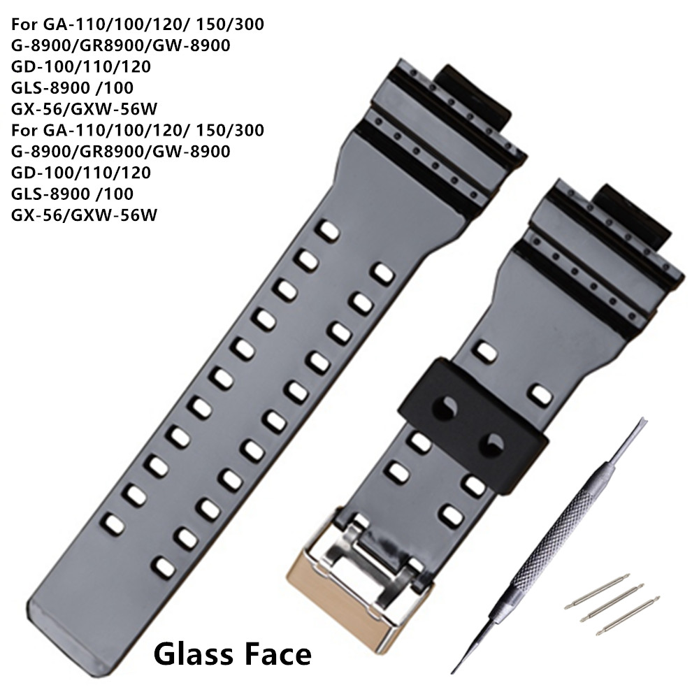 New Watch Brand 16mm Black Glass Face Watch Strap For <font><b>DW</b></font>-5600 <font><b>DW</b></font>-<font><b>5700</b></font> G-8900 GD110 GA110 Watch Band +Tool image
