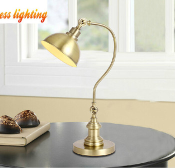 Wrought iron table lamp antique copper retro study bedroom bedside reading lamps, material: iron, E27, AC110-240V.