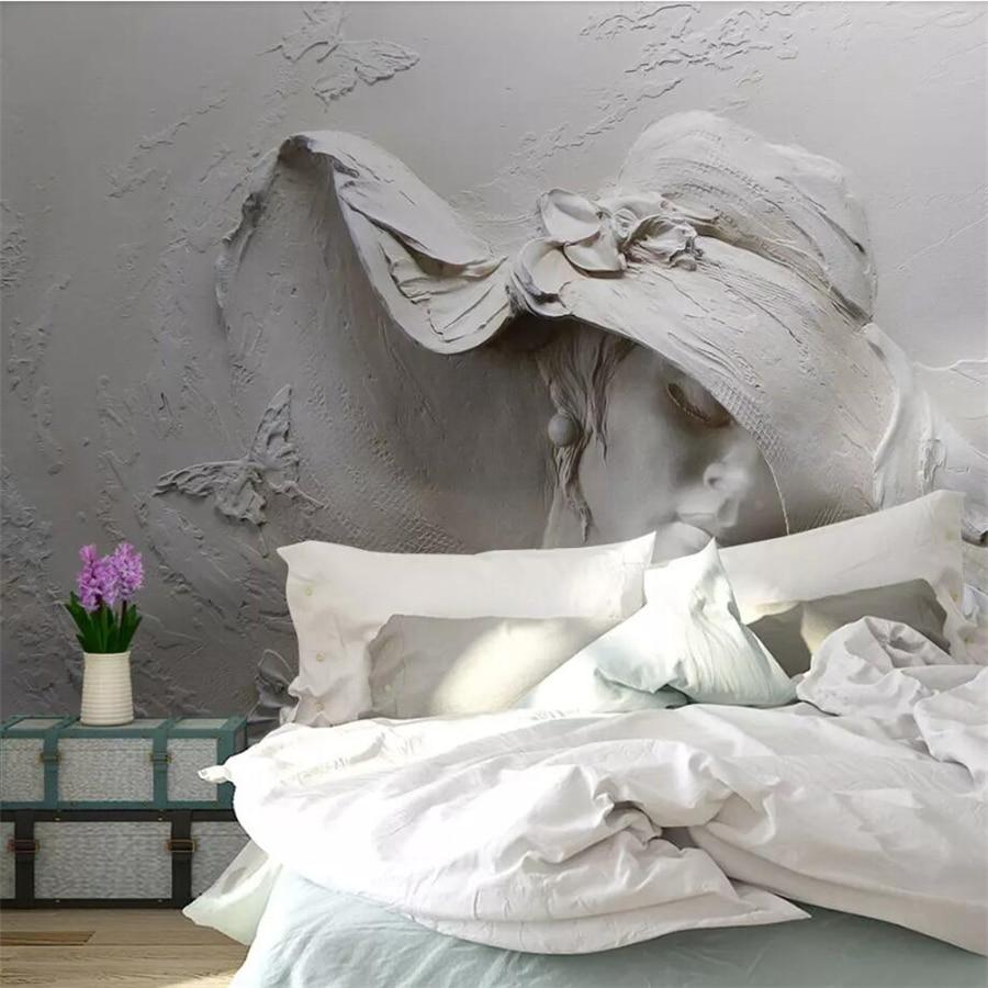 Купить с кэшбэком beibehang Custom wallpaper 3D Photo murals personality embossed gray beauty modern art painting bedroom abstract 3d wallpaper
