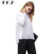 Фкз Летняя блузка Для женщин Свободные отложной воротник думаю Рубашки горошек Полные карманы с пышными рукавами Хлопковая женская одежда SKB16602