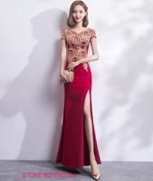Ensotek Women Ladies Lace Embroidered Satin Dress Long Party Pageant Wedding Bridal Summer Dress Maix Dress Prom Evening Gowns