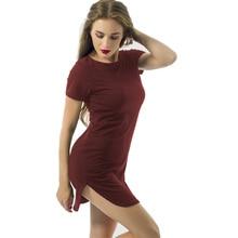 Women Dresses Asymmetric Hem Casual Round Neck Short Sleeves Bodycon Pencil Dress