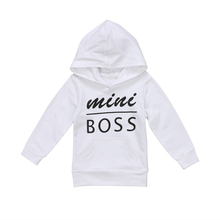 Pudcoco Mini boss Letter print Hooded Pocket T-shirt Casual kid Babies Boy Girl Tops Clothing Kid baby New Year costume