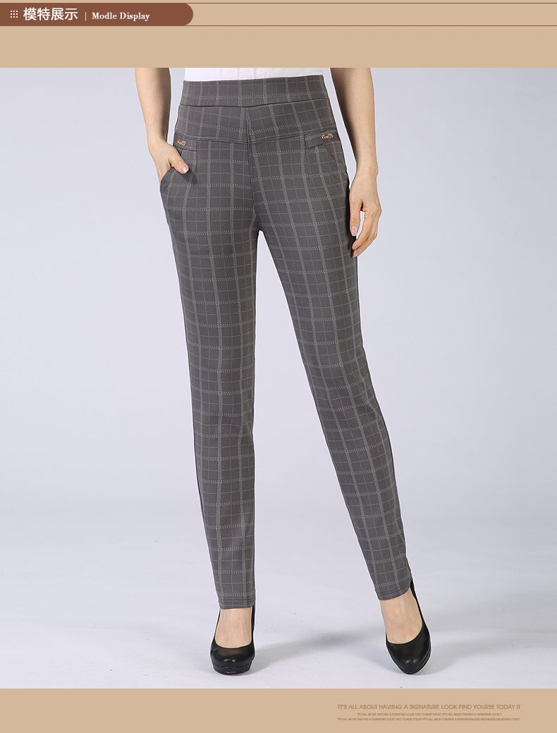 Spring Autumn Woman Casual Pant Navy Blue Black Khaki Gray Trousers Middle Aged Women Plaid Pattern Pants High Waist Trousers Mother Bottoms (7)