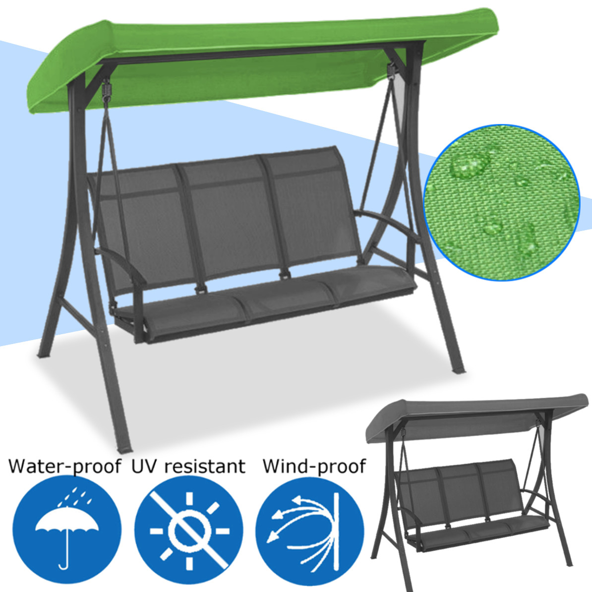 Camping Chair With Canopy Us 17 5 49 Off 191x120x23cm Canopy Waterproofed Swing Chair Tent Sunshade Camping Swing Roof Replacement Garden Supplies Fabric Sun Shade In Shade