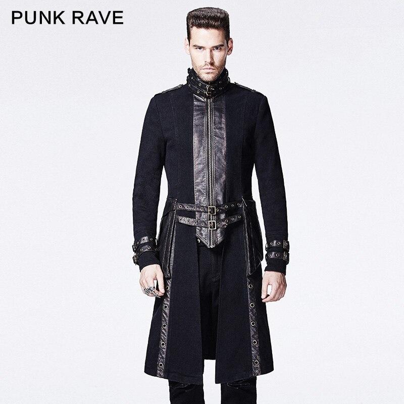 Панк Rave длинный тонкий черный высокий воротник пальто с регулируемые петли Y-589