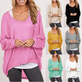 Summer Hot sale Women Batwing Long Sleeve Pullover Shirt Loose Solid Tops Sweater Blusas Femininas Tee Shirt Plus Size R119