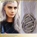 Remy virginal brasileña del pelo Clip en las extensiones 100 g / 120 g / 160 g gris plata recta del pelo de Remy Clip en extensiones de cabello humano