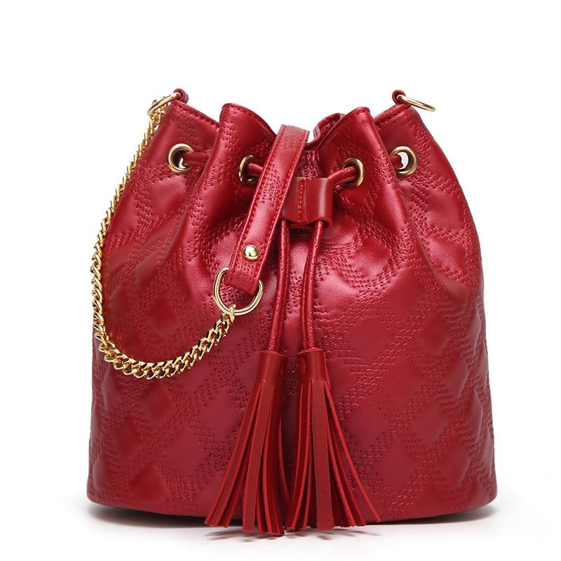 Women\'S Soft PU Leather Handbag Women Shoulder Bag Luxury Tassel Bucket Bag Women\'S Handbags