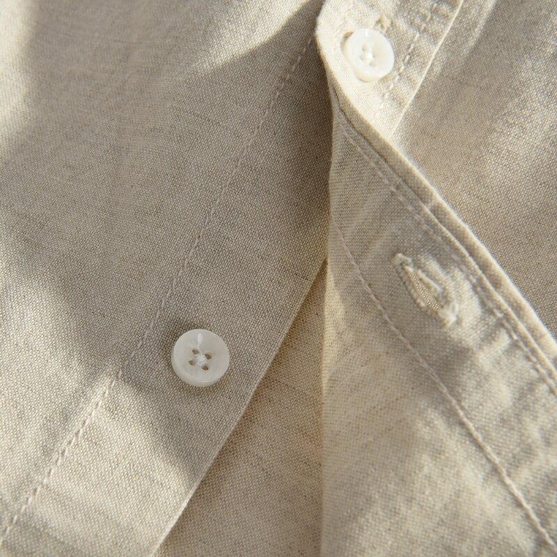 Moda Keten Erkek Casual Gömlek Slim Fit Şık Keten Elbise Gömlek - Erkek Giyim - Fotoğraf 4