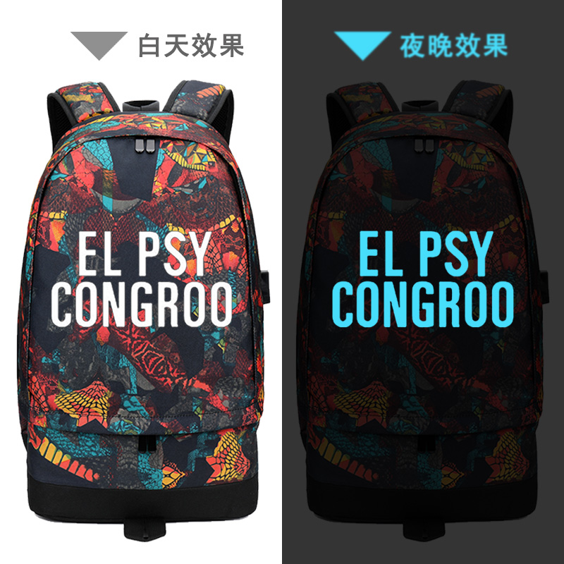 2018 Street Style USB Charging Laptop Backpack EL PSY CONGROO Printing Backpack Steins Gate Canvas School Bags Travel Backpack psy daejeon