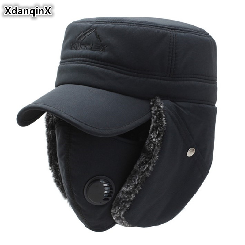 XdanqinX 2019 Winter New Style Men's Earmuffs Cap Bomber Hats Thicker Plus Velvet Warm Women's Resist The Snow Ski Caps Unisex