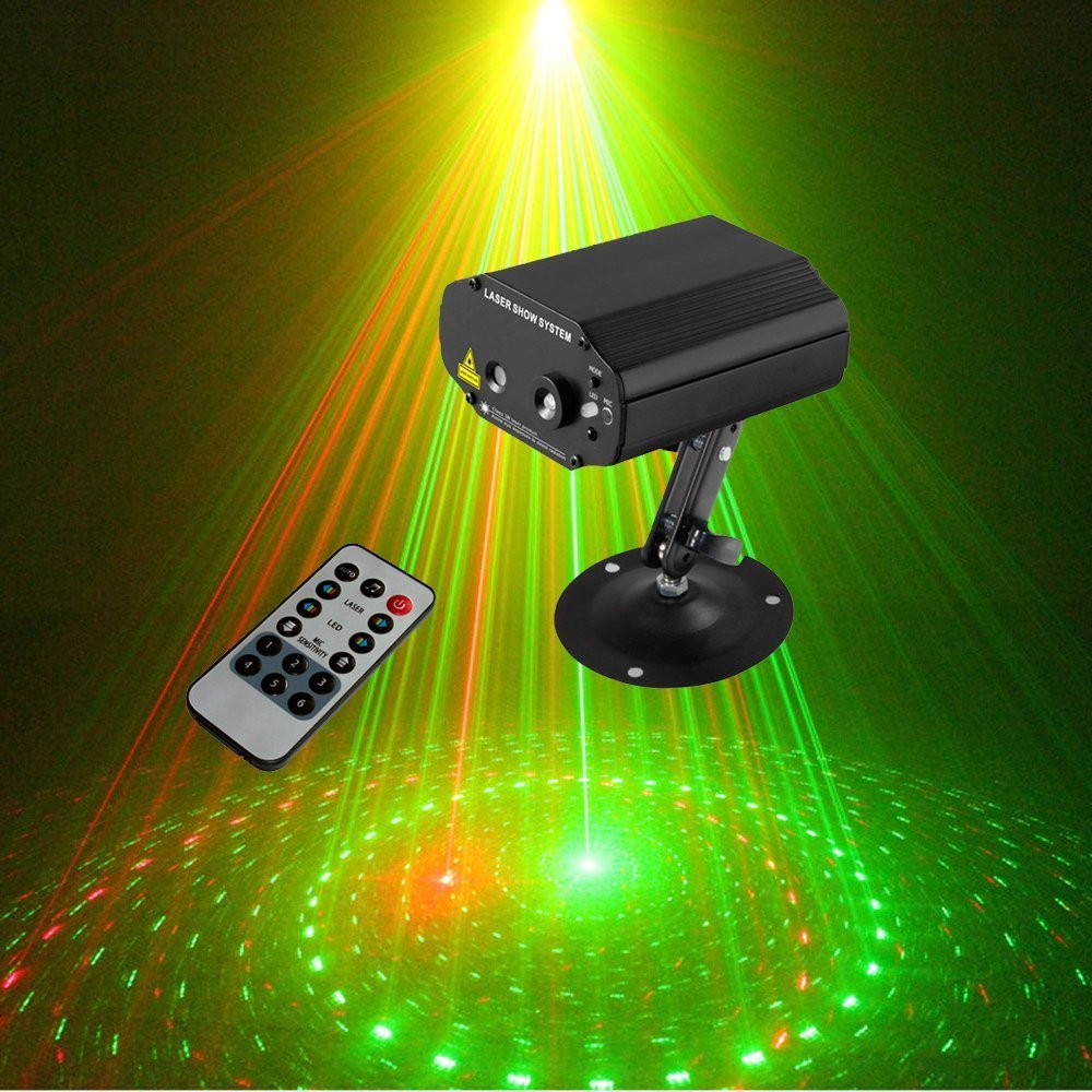 ФОТО Tomoral  8 RG Patterns Led Party lights Laser Projector Effect With Remote Blue Light DJ Disco Bar Home Party Club Lighting