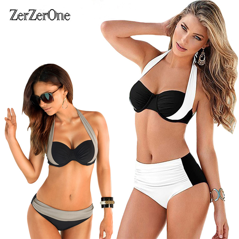 Bikinis 2017 Sexy Female Swimwear Women Push up Swimsuit High Waist Bikini Halter Top Bikini Set Beach Bathing Suit Swim Biquini sexy bikinis women 2017 push up swimsuit padded bikini set brazilian swimwear female bathing suit beach clothes swim biquini