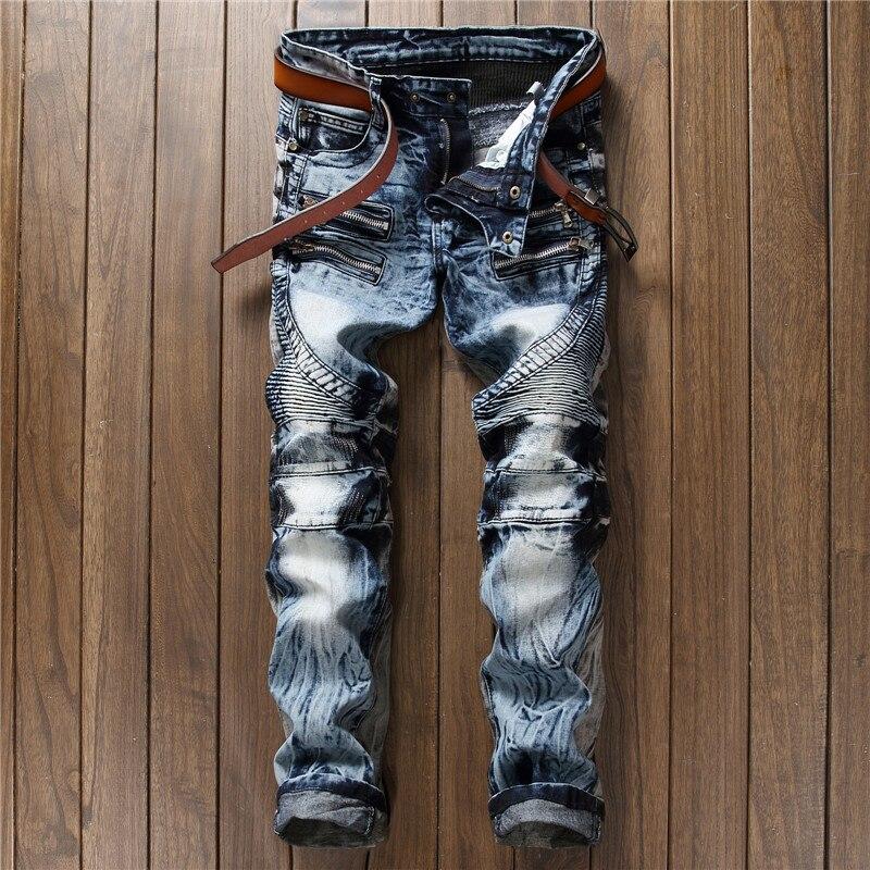 Nouveauté rock hommes jeans gris bleu slim fit droite de haute qualité patchwork denim pantalon fermetures éclair plissée punk moto biker jeans